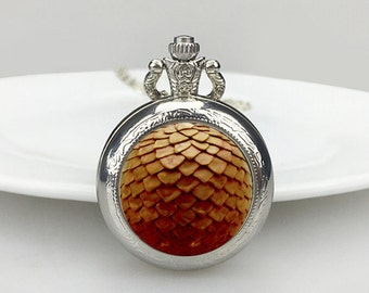 orange dragon scale pocket watch Necklace, Dragon Necklace, dragon scale  Dragon Egg Necklace, Dragon, Valentine's Day gift, gift for him