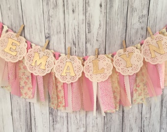 Shabby Chic Banner With Name // Vintage Banner With Name // Fabric Garland // Personalized Banner // Personalized Birthday Garland //
