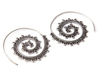 White Brass Big Dotted Design Spiral Earrings Tribal Earrings Mandala Jewellery Free UK Delivery Gift Boxed WB23