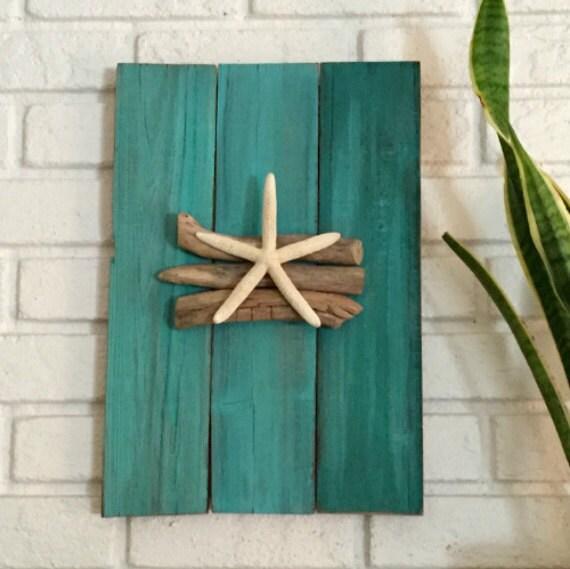 Wooden Beach Wall Decor : Wood beach art driftwood blue decor starfish wall