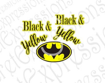 Black & Yellow Svg, Batman Svg, Iron on pattern Svg, Layered Digital Sign Cutting File, JPEG, DXF, SVG Cricut, Svg Silhouette Print File