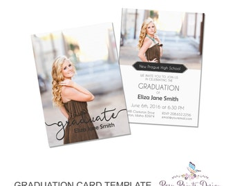 Graduation Announcement Template - 5x7 Digital Photography Photoshop Files - Template for Photographers - GC12 - DOWNLOAD or PRINTABLE