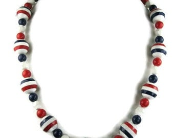 Vintage Patriotic Bead Necklace in Red White and Blue