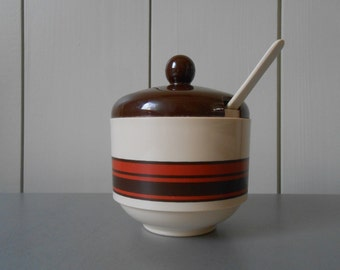 Vintage 1970s EMSA Sugar Bowl with Lid and Spoon. Brown Beige Striped Plastic. Made in West Germany. Seventies Kitchenware Mod Serving