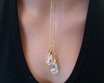 Lariat Swarovski Crystal AB Drop Necklace Gold