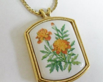 "Vintage Avon Marigold Wild Flower Porcelain Pendant on 18"" Necklace  - Perfect Holiday Gift!"