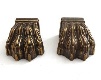 Set 2 pcs Brass Lion Paws, Solid Brass Claws / Feet, Cabinet Hardware, Foot #643G190K5
