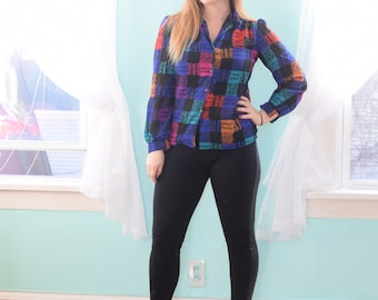 Vintage 1980s Teddi of California Black Blue Green Pink and Red Novelty Print Blouse Sheer Long Sleeve Button Down Large L Size 12 14