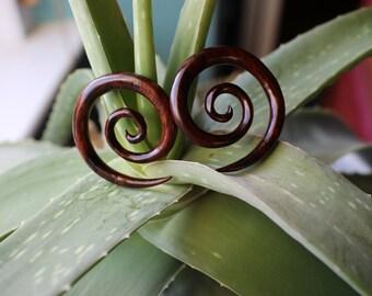 PAIR of wooden spiral tapers //UK // gauge // 2mm // 4mm // 6mm