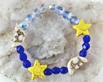 Moon & Stars Bracelet - Celestial Bracelet - Astronomy Bracelet - Crescent Moon - Czech Glass Beads