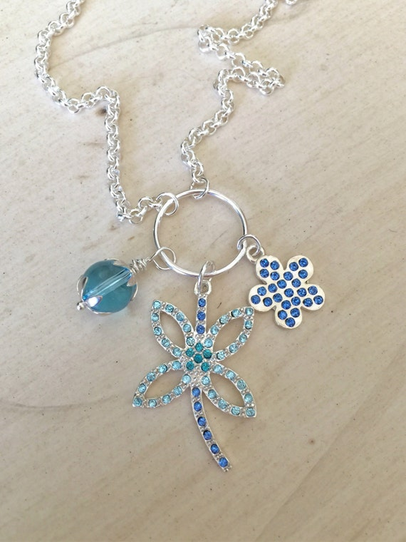 Aquamarine & Sapphire Crystal Dragonfly Pendant Necklace, Sterling Silver