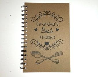 Recipe Book, Grandma's Recipe Book, Grandma, Kitchen Book, Recipe Notebook, Personalized, Notebook, Recipe Holder, Gift, Fork and Spoon