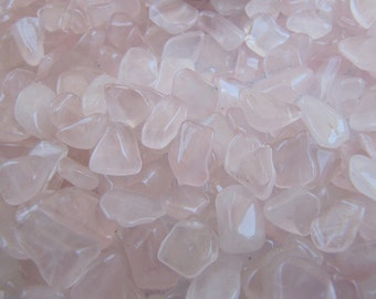 Rose Quartz Gemstone Pebbles, Lot of 100 tiny tumble polished loose stone chips for gem trees, natural crafts, small pocket pieces or charms