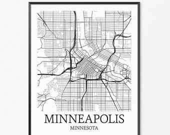 Minneapolis Map Art Print, Minneapolis Poster Map of Minneapolis, Minneapolis City Map Art, Minneapolis Gift, Minneapolis Minnesota Poster