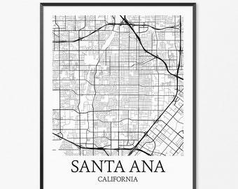 Santa Ana Map Art Print, Santa Ana Poster Map of Santa Ana Decor, Santa Ana City Map Art, Santa Ana Gift, Santa Ana California Art Poster
