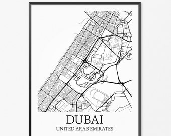 Dubai Map Art Print, Dubai Poster Map of Dubai Decor, Dubai City Map Art, Dubai Gift, Dubai UAE Art Poster