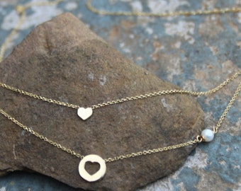 Gold Necklace,Double Strand Necklace,Heart Necklace,Solid Gold 14kt,Chain Necklace,Heart Pendant,Wedding Gift,Engagement,Jewelry for her