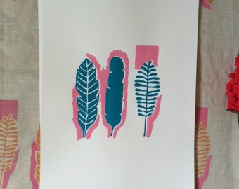 Blue and pink leaves screen print