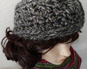 Soft and Chunky Crocheted Head Wrap - Charcoal Gray & Silver