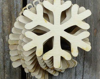 10 x Wooden Snowflake Craft Shapes.  Wonderful Christmas Decoration