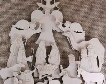 Wooden Christmas Nativity Craft Shape Set 20 Items Manger Kings Shepherds Angels