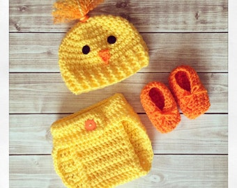 Baby Easter Spring Chick Hat, Diaper Cover, Bootie Set Outfit ~ Newborn 0-3 3-6 months ~ Photo Prop ~ Pictures ~ Costume ~ Photos Girl Boy