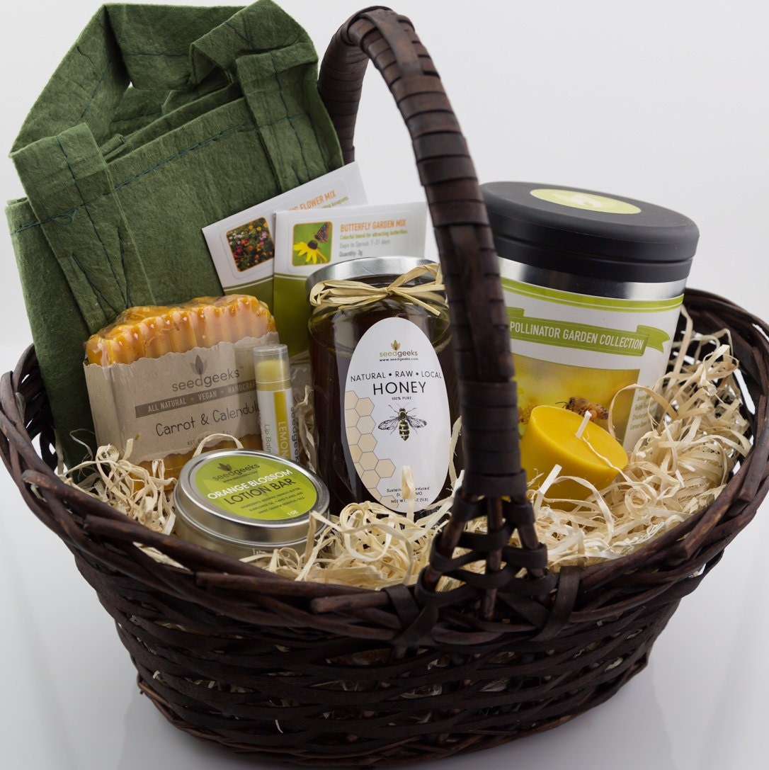 Handmade Basket Gifts : Homestead garden gift basket w handmade soap lip balm