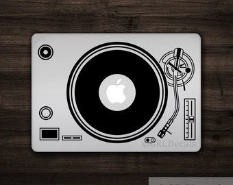DJ Turntable - Mac Apple Logo Cover Laptop Vinyl Decal Sticker Macbook Decal Music Electronic Musician Record Player