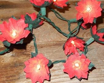 Red Poinsettia Twinkle Lights Holiday Paper Flower String Lights  Christmas Flower Fairy Lights   Lighting  Decor  Holiday Lights - Custom