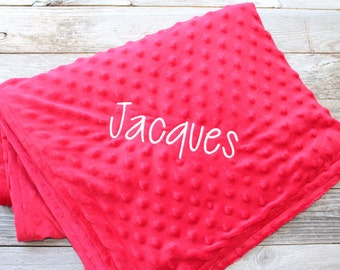 "Personalized Red Minky Dot Blanket, 30"" x 44"""