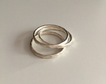 Hammered stacking ring made of fine silver