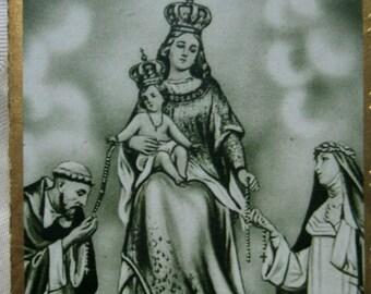 Vintage card. Ephemera. Catholic. Religious. Holy card.Grey.Black.Ave Maria. Vintage prayer. Blessed card. Ceremony. Saints. Virgin Mary.
