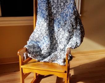 "Crochet Baby Boy Blanket Variegated Sky Blue/White & Variegated Grey/Gray/White 33"" x 33"" Handmade ""Corner to Corner"" Afghan"