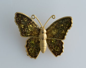 Retro Brown and Gold Glittery Butterfly Brooch