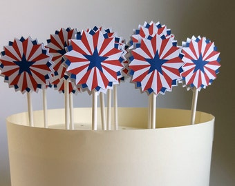 American flag red white and blue cupcake toppers, stars and stripes, 4th of july party decorations, rosettes, Set of 12