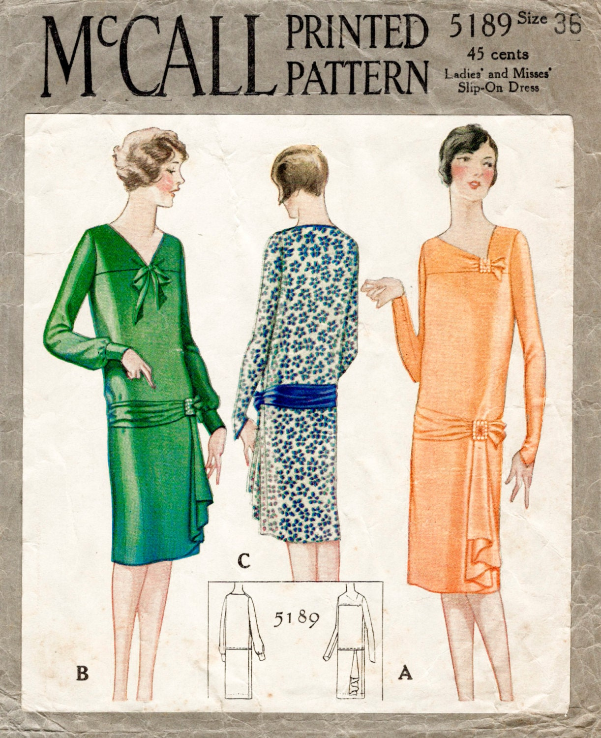 1920s 1930s sewing pattern flapper frock day or evening dress
