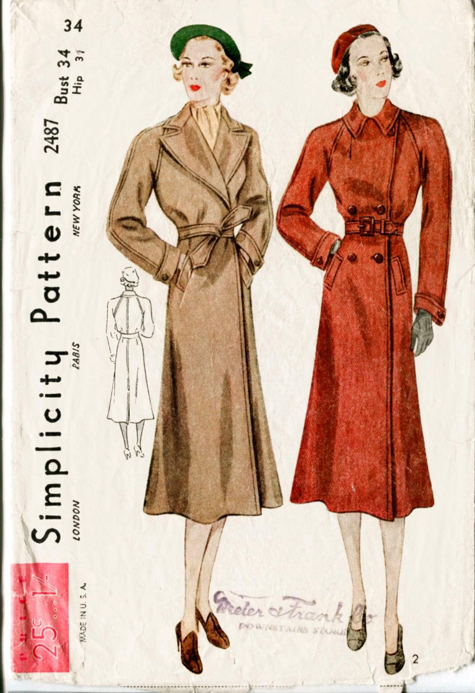Vintage sewing pattern 1930s 30s coat raglan sleeve belt description 1930s jeuxipadfo Choice Image