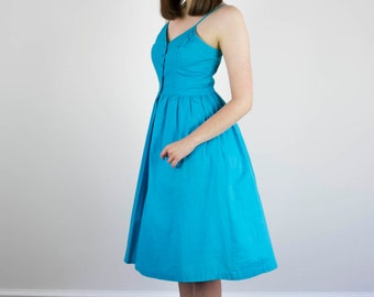 Vintage 1970s Blue Sundress / Saks Fifth Avenue / Cotton / Pleated Bodice / Full Skirt / S