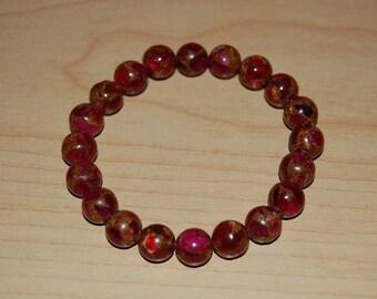Pink Dark Pink Bracelet, Boho Gemstone Bracelet, Elastic Bracelet Fit All