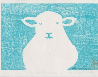Meditating Lamb. Woodblock print. Hand-pulled Japanese Woodcut. Original Print. Sheep. Wabi Sabi. Zen. Primitive. Rustic. Calming. Cute.
