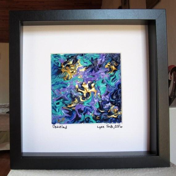 blue framed painting blue and gold art small framed art framed abstract artwork