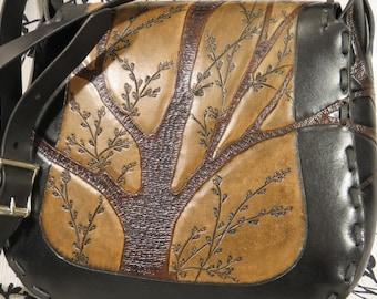 "Handmade Leather Purse ~ ""Punkie Purse"" ~ Tooled Trees Tri-Colored"