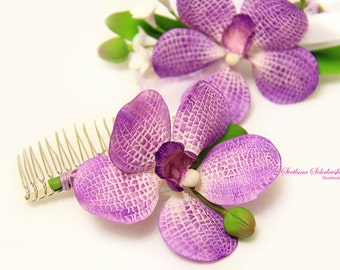 Purple Flower Hair Comb- Purple Orchid Hair Comb Wedding comb, comb hair jewelry for the bride, wedding accessories.