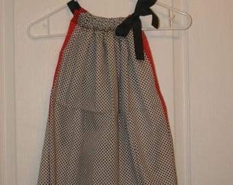 Black Polka Dot with Red trim  Print Bandanna Dress with Black Ribbon, Bandanna Top. ONE SIZE. Ready to ship