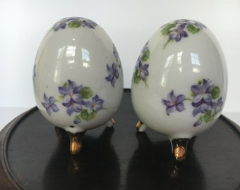 Violet Footed Egg Shaped Salt and Pepper Shakers White Porcelain withPurple Violets & Gold Feet