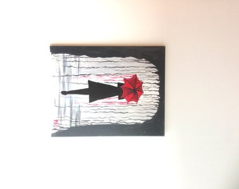 Girl with Red Umbrella Painting, Rainy Day painting, Rainy Day Art, Red Umbrella Art, Umbrella Painting, Nature Art, Female Art Abstract Art