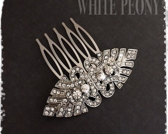 """1920s Art Deco Great Gatsby Inspired Crystal Hair Comb-Downton Abbey Wedding Hair Accessories-Bridal Bridesmaids Vintage Deco Comb-""""JULIET"""""""