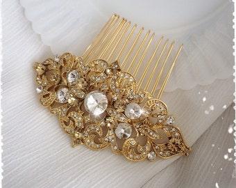 "1920s Art Deco Gatsby Inspired Crystal Gold Comb Wedding Hair Accessory-Vintage Art Deco Bridal Swarovski Crystal Headpiece-""KENDAL gold"""
