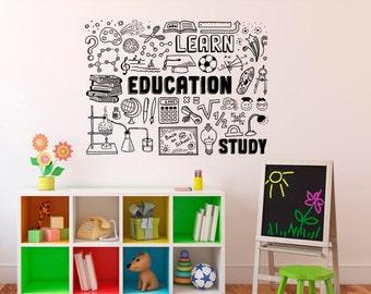 Wall Decal Education School Vinyl Sticker Library Classroom - Custom vinyl wall decals for classrooms