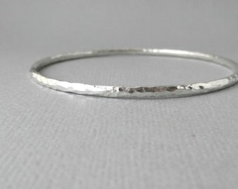 Sterling Silver Bracelet, Bangle. Hammered texture. Stackable.